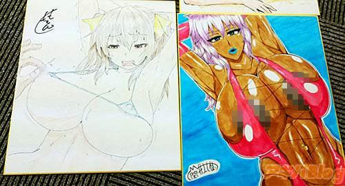 くもえもん(左)/井上七樹(右)の色紙