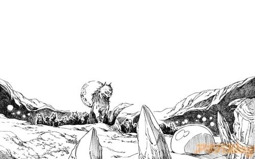 ゴブリンと牙狼族の争いに巻き込まれたリムル。スキルを駆使して問題を解決……したことをきっかけに、リムルはモンスターたちの主として君臨することに……!(ノベルズ1巻より)