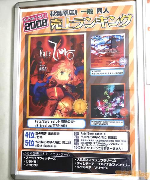 2008年とら秋葉原店A一般同人誌ランキングの1位はNitroplus/TYPE-MOONの「Fate/Zero vol.4 -煉獄の炎-」
