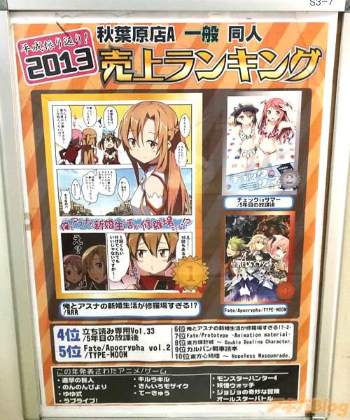 2013年とら秋葉原店A一般同人誌ランキングの1位はサークルRRRの「俺とアスナの新婚生活が修羅場すぎる!?」