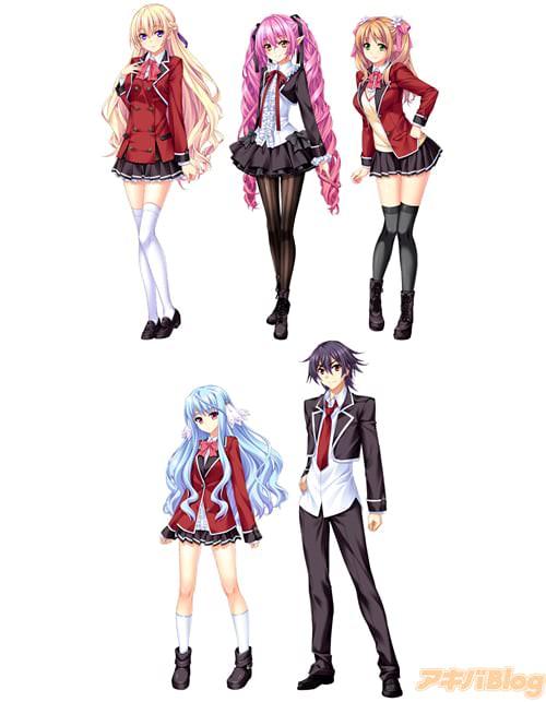 キャラクターたちの制服姿