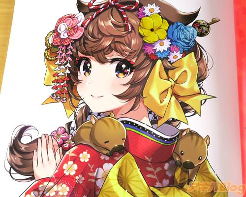 「いのしし娘ちゃん。日本郵便様の2019年の年賀トレードで描かせていただいた女の子がお気に入りだったので、別バージョンを自分でも描いてみました」