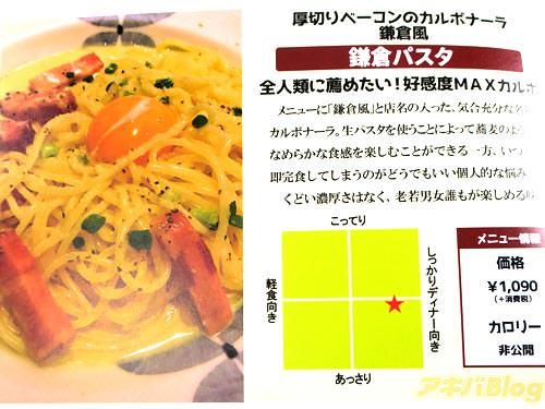 鎌倉パスタ 厚切りベーコンのカルボナーラ鎌倉風 「全人類に薦めたい!高感度MAXカルボ。生パスタを使うことによって蕎麦のようになめらかな食感を楽しむことができる」